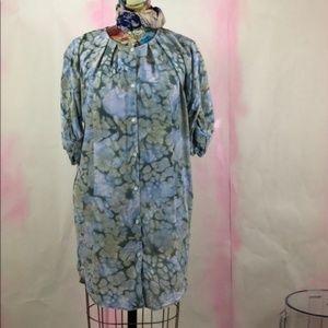 Aritzia Wilfred Abstract Silk Print Shirtdress